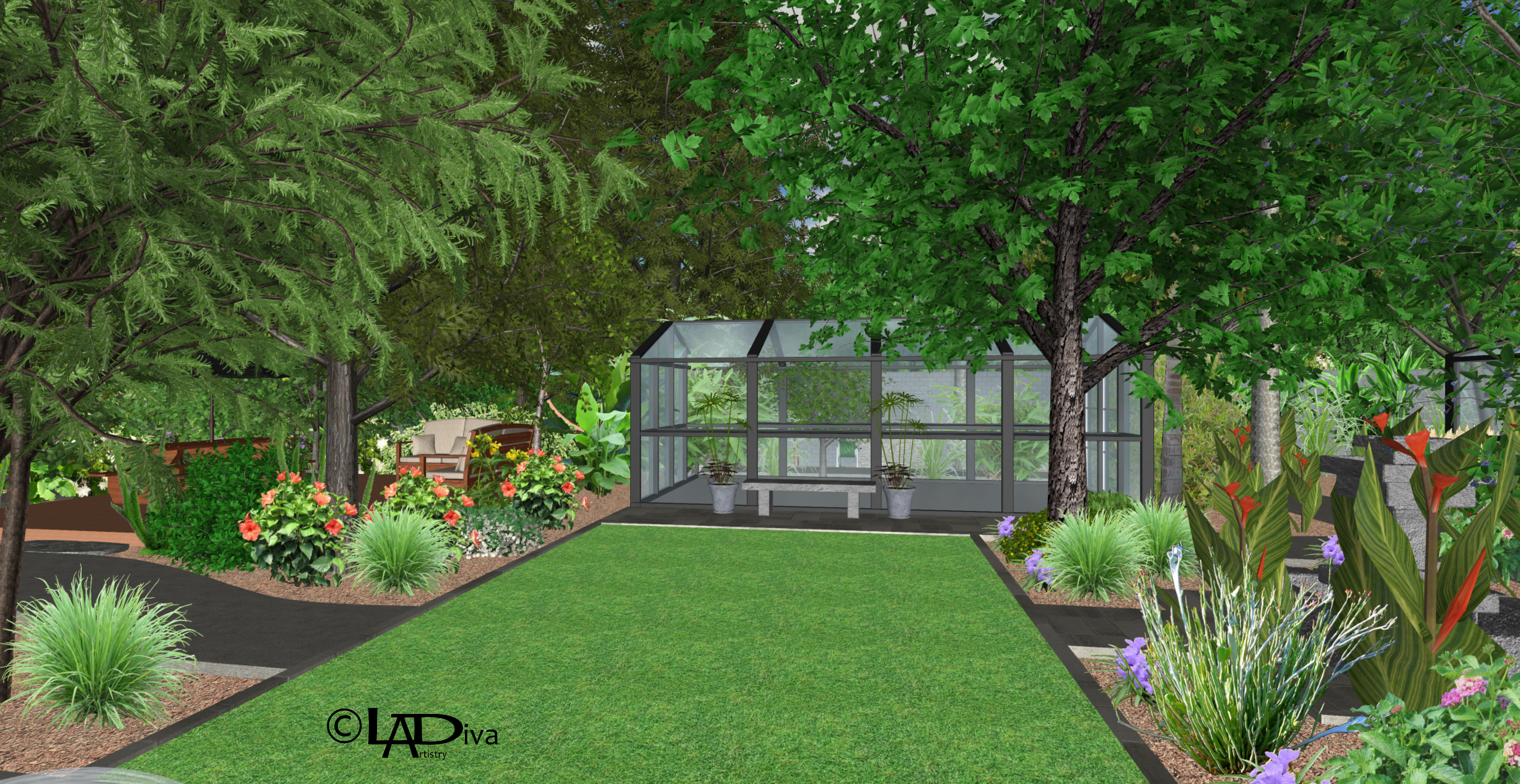Asian Zen Garden & Animal Sanctuary with New Pool Build - Phoenix, AZ ©LADiva Artistry Landscape Design Solutions, specializing in edible & tropical garden design in Gilbert, AZ. Featuring Custom 2D Color Master Landscape Design Plans and 3D Virtual Walkthrough Tours. Cultivating beautiful, productive oases in the greater Phoenix, Arizona area showcasing tropical trees, fruit trees, edible plants & herbs in low maintenance, stunning gardens.
