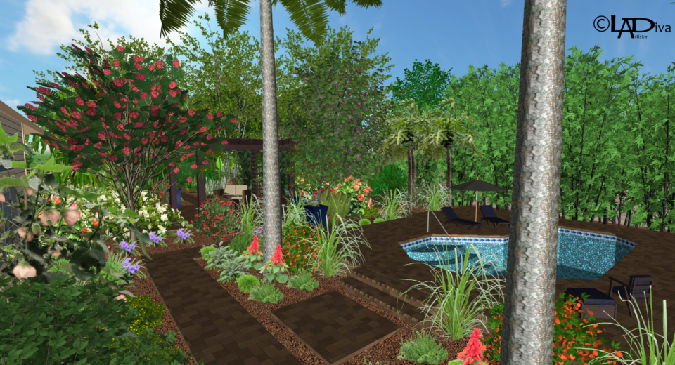 Tropical & Productive Backyard Paradise with New Pool Design - Chandler, AZ ©LADiva Artistry Landscape Design Solutions, specializing in edible & tropical garden design in Gilbert, AZ. Featuring Custom 2D Color Master Landscape Design Plans and 3D Virtual Walkthrough Tours. Cultivating beautiful, productive oases in the greater Phoenix, Arizona area showcasing tropical trees, fruit trees, edible plants & herbs in low maintenance, stunning gardens.