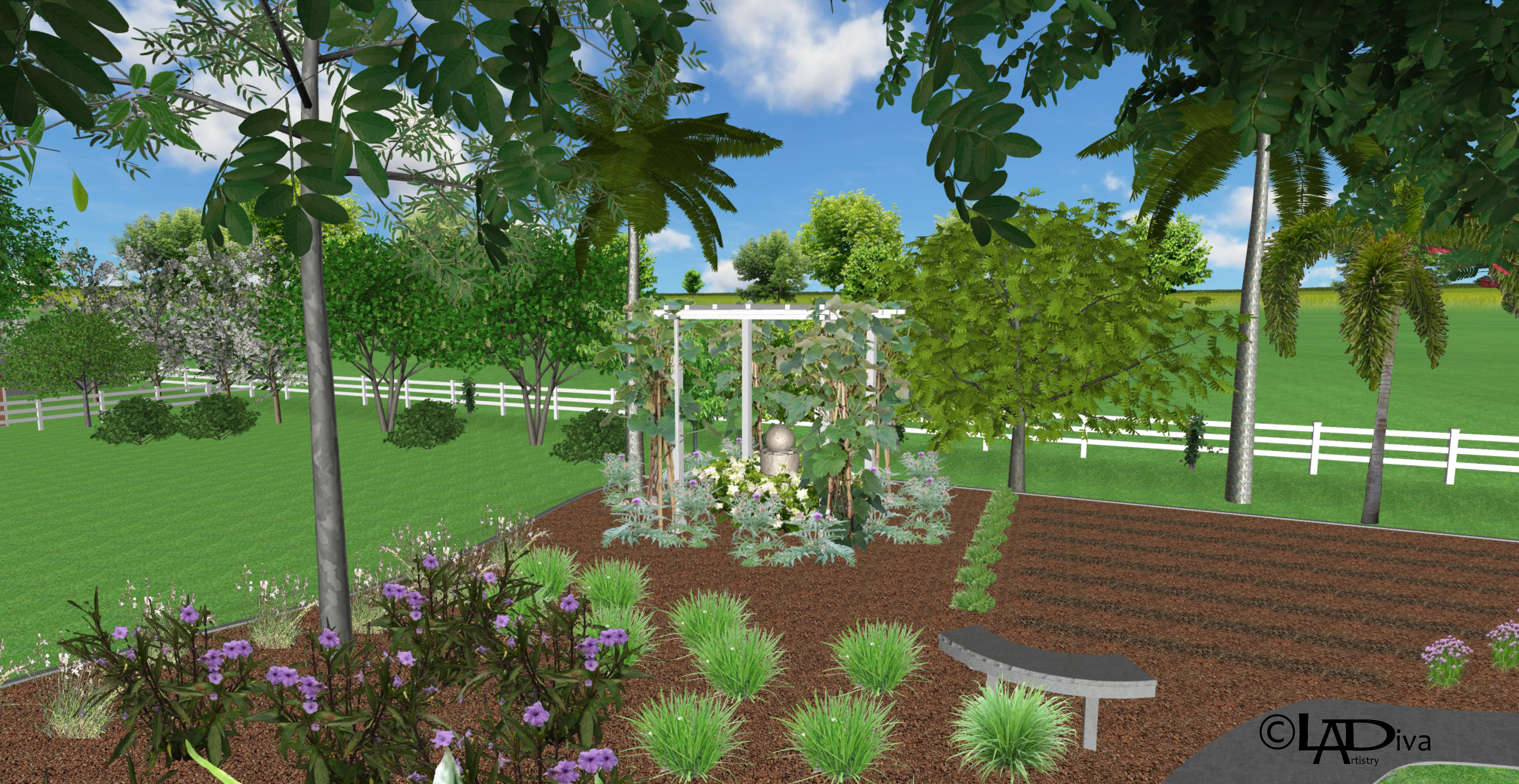 """Edible & Tropical """"Park Like"""" Oasis on 1.65 Flood Irrigated Acres - Gilbert, AZ ©LADiva Artistry Landscape Design Solutions, specializing in edible & tropical garden design in Gilbert, AZ. Featuring Custom 2D Color Master Landscape Design Plans and 3D Virtual Walkthrough Tours. Cultivating beautiful, productive oases in the greater Phoenix, Arizona area showcasing tropical trees, fruit trees, edible plants & herbs in low maintenance, stunning gardens."""