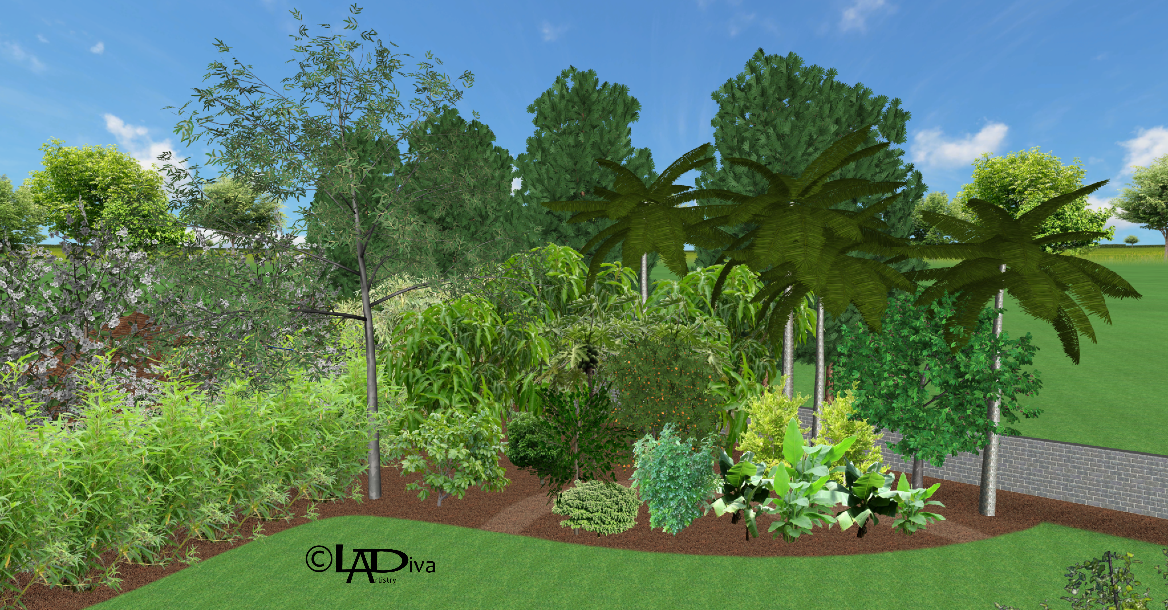 Edible Demonstration Garden Featuring Tropical Fruit Trees, Flood Irrigation Planning - Laveen, AZ ©LADiva Artistry Landscape Design Solutions, specializing in edible & tropical garden design in Gilbert, AZ. Featuring Custom 2D Color Master Landscape Design Plans and 3D Virtual Walkthrough Tours. Cultivating beautiful, productive oases in the greater Phoenix, Arizona area showcasing tropical trees, fruit trees, edible plants & herbs in low maintenance, stunning gardens.